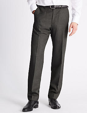 Tailored Fit Flat Front Trousers, GREY, catlanding