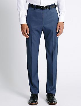Regular Fit Flat Front Trousers, ROYAL BLUE, catlanding