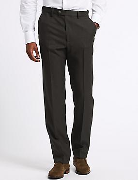 Regular Fit Flat Front Trousers, BROWN, catlanding