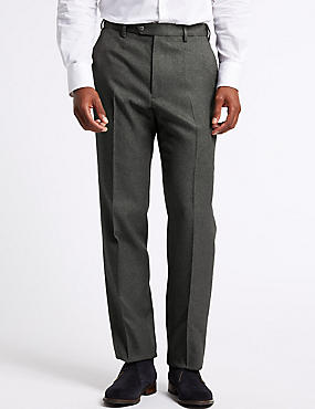 Regular Fit Flat Front Trousers, CHARCOAL, catlanding