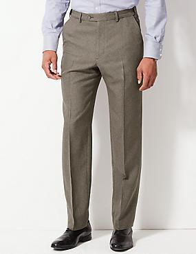 Regular Fit Flat Front Trousers, NEUTRAL, catlanding