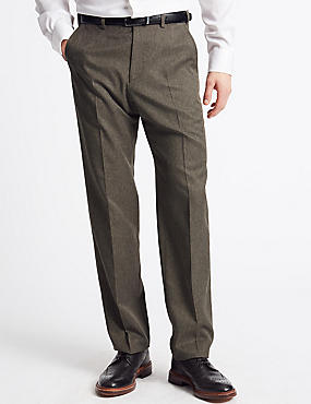 Regular Fit Checked Flat Front Trousers, NEUTRAL, catlanding