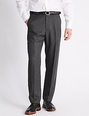 Regular Fit Checked Flat Front Trousers, GREY, catlanding