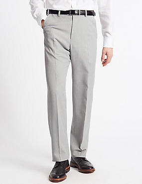 Big & Tall Regular Fit Flat Front Trousers, GREY, catlanding