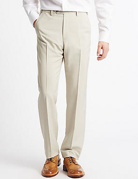 Big & Tall Regular Fit Flat Front Trousers, STONE, catlanding