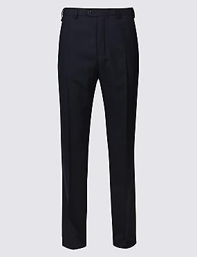 Regular Fit Wool Blend Flat Front Trousers, NAVY, catlanding