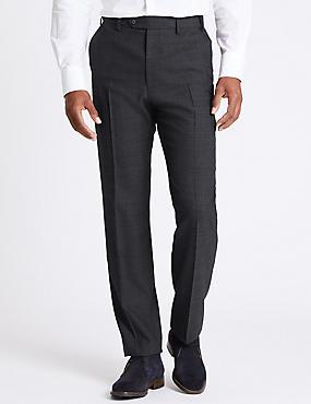 Regular Fit Wool Blend Flat Front Trousers, INDIGO, catlanding