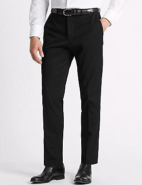 Slim Fit Cotton Blend Flat Front Trousers, BLACK, catlanding