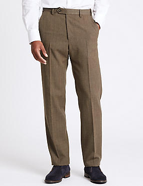 Regular Fit Wool Blend Flat Front Trousers, NEUTRAL, catlanding
