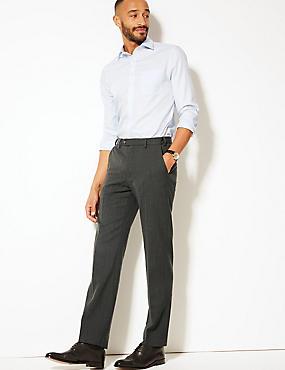 Regular Fit Wool Blend Flat Front Trousers, CHARCOAL, catlanding