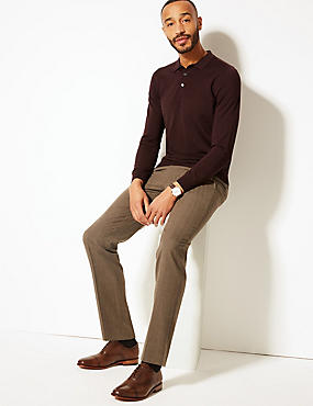 Tailored Fit Wool Blend Flat Front Trousers, NEUTRAL, catlanding