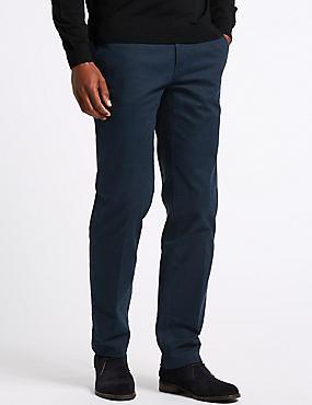 Cotton Rich Slim Fit Flat Front Trousers, NAVY MIX, catlanding