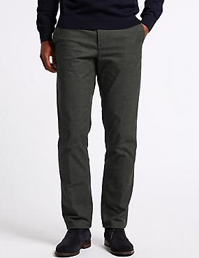 Cotton Rich Slim Fit Flat Front Trousers, MID GREY, catlanding