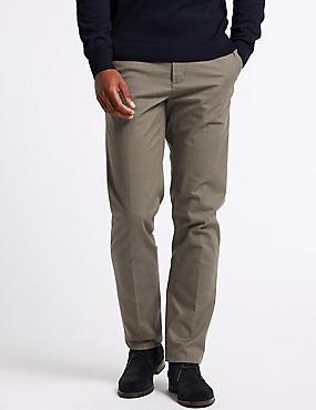 Cotton Rich Slim Fit Flat Front Trousers, NEUTRAL, catlanding