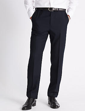 Tailored Fit Wool Blend Flat Front Trousers, NAVY, catlanding