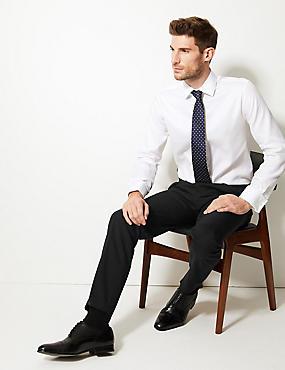 Tailored Wool Blend Single Pleated Trousers, BLACK, catlanding