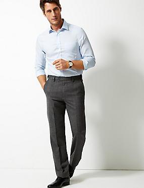 Wool Blend Regular Fit Flat Front Trousers, GREY, catlanding