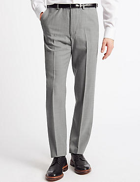 Tailored Fit Wool Blend Flat Front Trousers, LIGHT GREY, catlanding