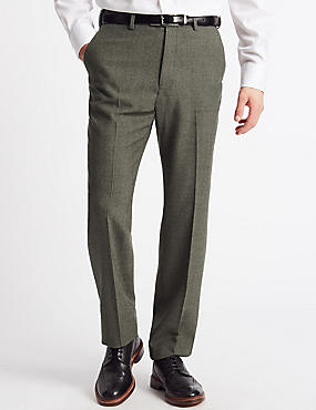 Regular Fit Wool Blend Flat Front Trousers, NEUTRAL, catlanding