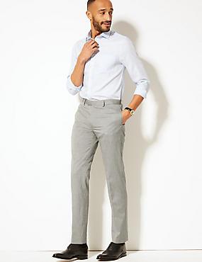 Regular Fit Herringbone Flat Front Trousers, GREY, catlanding