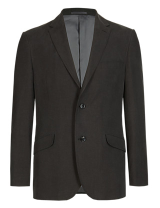Tailored Fit 2 Button Jacket with Linen Clothing