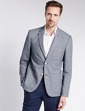 Linen Blend Micro Puppytooth Check 2 Button Jacket