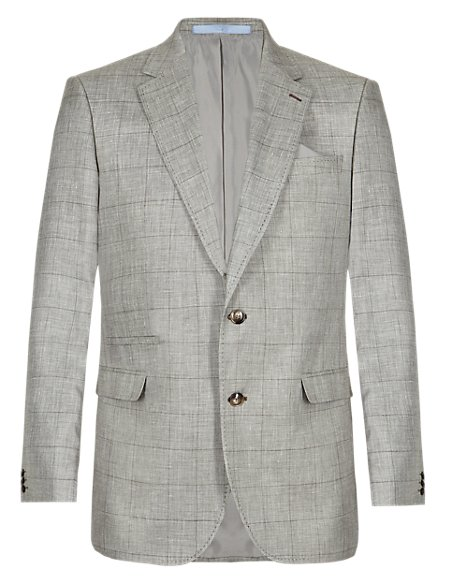 Wool Blend 2 Button Checked Jacket with Linen