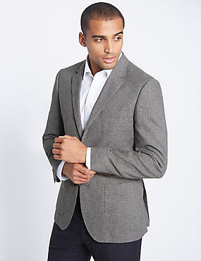 Linen Blend Single Breasted 2 Button Jacket