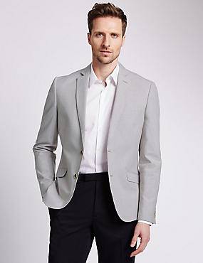 Cotton Rich Buttonsafe™ Slim Fit Striped 2 Button Jacket with Linen