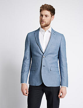 Blue Linen Cotton Mix Tailored Fit Jacket