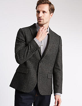 Long Sleeve Textured 2 Button Jacket with Buttonsafe™