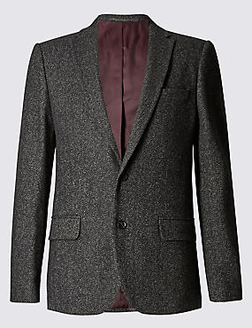 Slim Fit Textured 2 Button Jacket