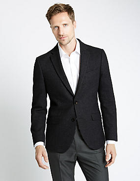 Tailored Fit 2 Button Donegal Jacket with Wool