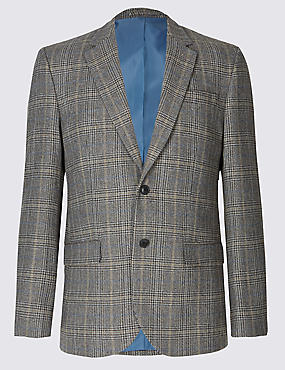 Big & Tall Wool Blend Checked Jacket