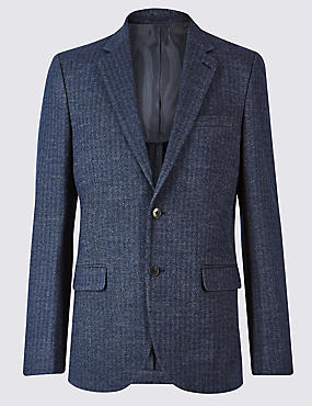 Wool Blend Knitted Herringbone Jacket