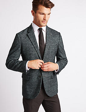 Wool Blend Knitted Check Jacket