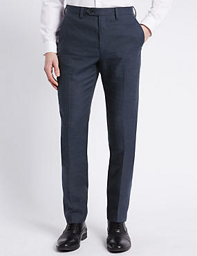 Linen Miracle™ Tailored Fit Flat Front Buttonsafe™ Trousers