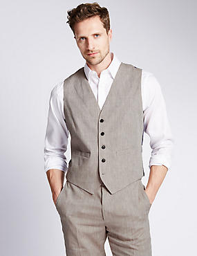 Linen Miracle™ Waistcoat with Buttonsafe™