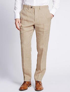 Linen Miracle™ Flat Front Trousers with Buttonsafe™