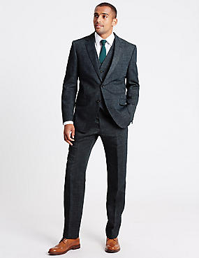 Grey Textured Regular Fit 3 Piece Suit