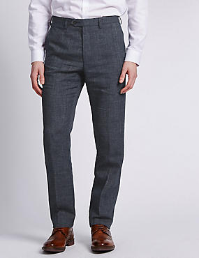 Big & Tall Grey Flat Front Textured Trousers