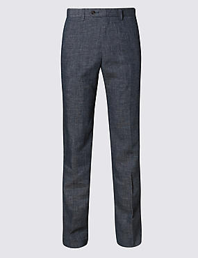 Grey Linen Miracle Regular Fit Trouser