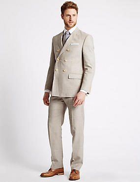 Beige Textured Regular Fit Suit