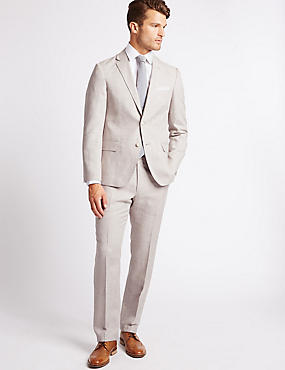 Linen Rich Textured Tailored Fit Jacket