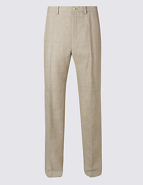Big & Tall Linen Rich Flat Front Trousers
