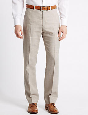 Linen Rich Flat Front Trousers