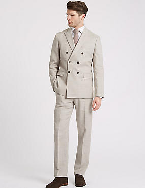 Linen Miracle Tailored Fit Textured Jacket, NEUTRAL, catlanding