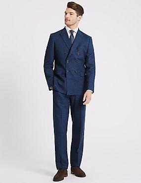 Linen Miracle Tailored Fit Textured Jacket, INDIGO, catlanding