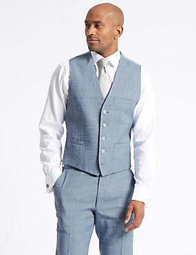 Linen Miracle Tailored Fit Waistcoat, BLUE, catlanding