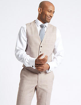 Linen Miracle Tailored Fit Waistcoat, , catlanding